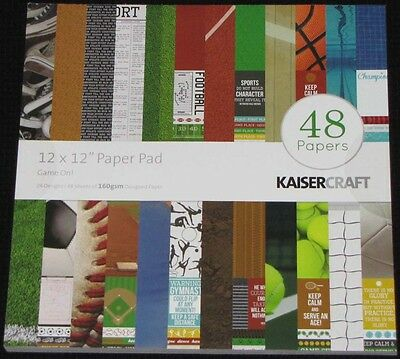 "Kaisercraft 'GAME ON!' 12"" Paper Pad 48 Sheets Sports (24 Designs x2) KAISER"