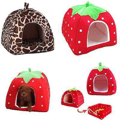 Soft Strawberry Pet Dog Cat Bed House Kennel Doggy Puppy Warm Cushion Basket Pad