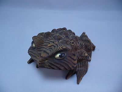 Vintage Japan Hand-Carved Frog Cryptomeria Wood Figure Horny Toad
