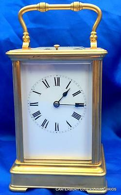 Large Antique French Couillet Freres Striking Repeater 8 Day Carriage Clock