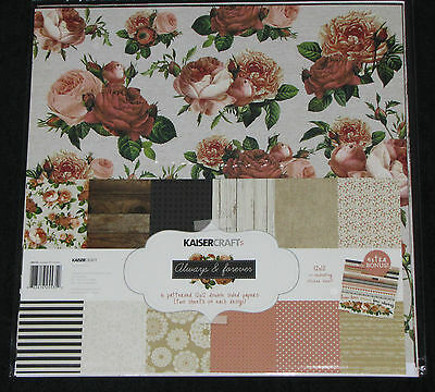 "Kaisercraft 'ALWAYS & FOREVER' 12x12"" Paper Pk + Stickers Love/Floral KAISER"