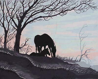 Grafitec Printed Tapestry/Needlepoint Canvas – Mare & Foal Silhouette