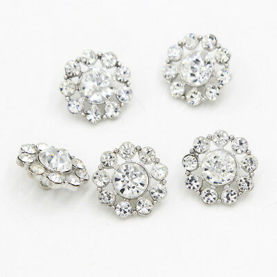 NEW 6Pcs Clear Rhinestone Diamante Silver 21mm Flower Shank Buttons Sewing Craft