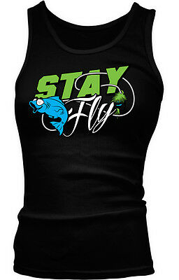 Stay Fly Fish Bait Hook Lure Cast River Gear Catch Trip Trout Go Girls Tank Top