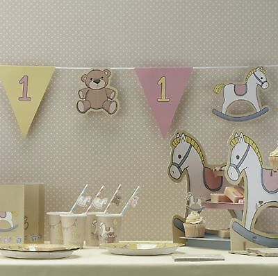 Rock A Bye Baby Girls Pink 1st Birthday Bunting Party Banner Decoration 3.5m