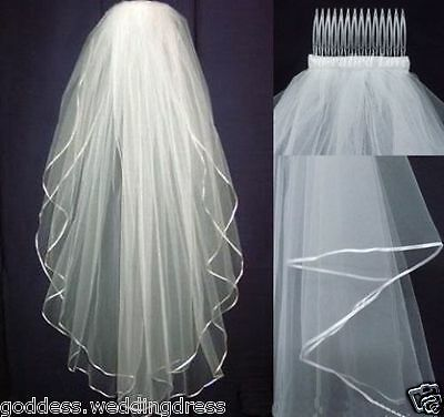 Hot-New White or Ivory Wedding Bridal Veil Elbow Length Satin Edge with comb