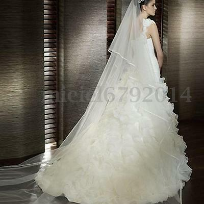 3M 2T Long White Ivory Bridal Wedding Church Cathedral Length Veil With Comb