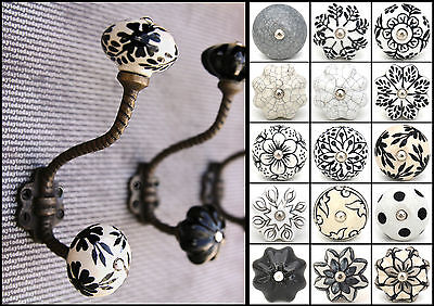 Shabby chic vintage coat hooks pegs with choice of ceramic knobs