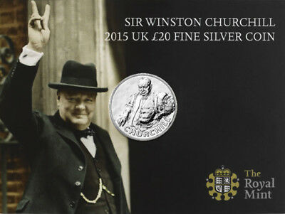 2015 £20 SILVER COIN WINSTON CHURCHILL TWENTY POUNDS BRILLIANTLY UNCIRCULATED c