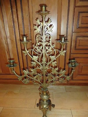 "Antique Victorian Brass Candelabra Gothic Cathedral 5 candle 27"" Ivy vine Leaves"