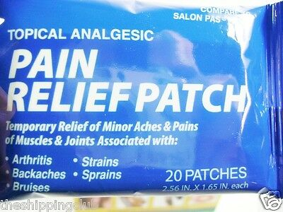 """100 PAIN RELIEF PATCH ARTHRITIS MUSCLE Bruises Joints Coralite 2.56"""" x 1.65"""""""