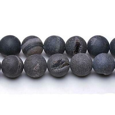 Strand Of 25+ Black Agate Druzy 14mm Frosted Round Beads CB25635-1