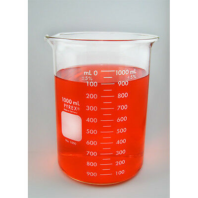 G-1631  1000 ml Corning Pyrex Beaker, spout. Made in Germany. Heat resistant.