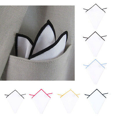 Trendy Men White With Candy Color Edge Cotton Pocket Square Handkerchief