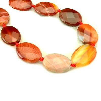 Packet Of 4 x Red/White Sardonyx 13 x 18mm Faceted Oval Beads GS17721-2