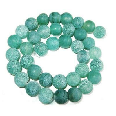 Strand Of 38+ Green Frosted Cracked Agate 10mm Plain Round Beads GS0099-2