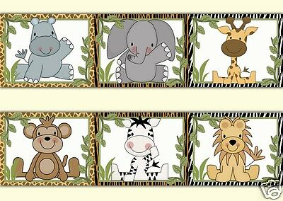 Safari Animal Wallpaper Border Wall Art Decals Jungle Baby Boy Nursery Stickers