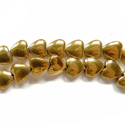 Strand Of 45+ Golden Hematite (Non Magnetic) 8mm Puffy Heart Beads GS15394-2