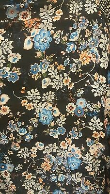 """100% Rayon challis Colorful floral BLUE 60""""W Fabric by the yard"""