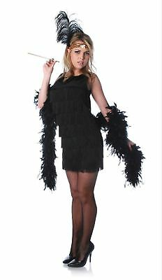 1920's Vintage Style Fringed Flapper Art Deco Dress Gatsby Womens Costume Black