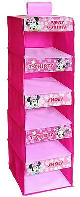 Minnie Mouse 5 Shelf Wardrobe Organiser Cupboard Clothes Shoes Bedroom