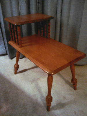 Vintage 1960's Mid Century Two Tier Sprauge and Carelton Rock Maple End Table
