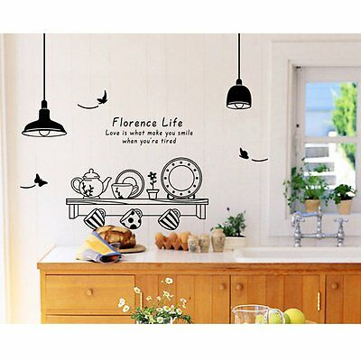 H1 Kitchen Utensils Butterfly Letter Removable Wall Stickers Art Decals Mural DI