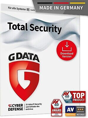 G Data TOTAL Security 2018 * 1 PC 1 Jahr * Vollversion GData * Deutsche Lizenz