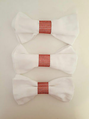 6 x Diamante Mesh Napkin Rings in Red Perfect for Weddings