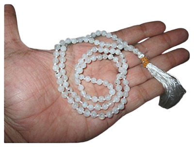 Best Quality Rainbow Moonstone Japa Mala Free Booklet Jet International Crystal