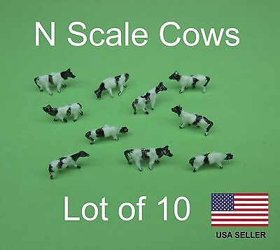 Bulk lot of 10 N Scale Farm Animals - Cows for Model Train 1:160 1/160