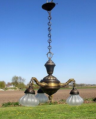 Gothic 3 Arm Chandelier Pendant Lights Brass Eagles Birds Rare Brass Shades • CAD $298.51
