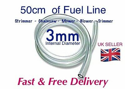 3mm I'd CLEAR PETROL OIL FUEL PIPE HOSE LINE. -  0.5M LENGTH