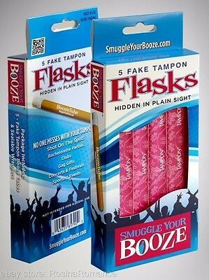 Smuggle Your Booze Flasks Shot Tubes Fake Tampon Wrappers Festival Concert Party