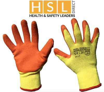 Hsl Direct Rubber Latex Coated Gripper Safety Work Gloves Builder Gardening Roof