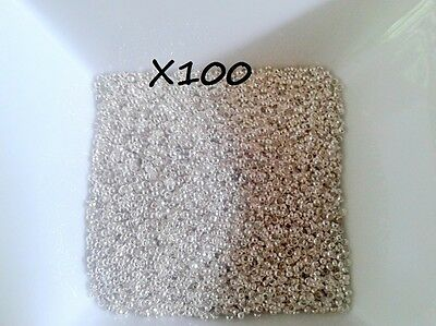 lot 100 perles a ecraser argenté laiton 2mm
