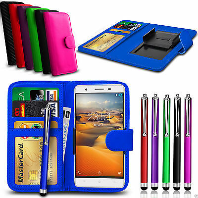 Clip On PU Leather Wallet Case Cover & Pen For BLU Studio C Super Camera