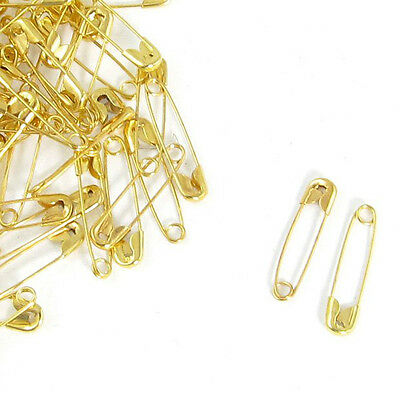 90 Pcs Gold Tone Metal Safety Pins for Clothing Trimming H1