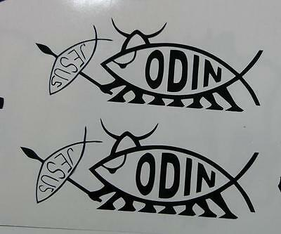 x 2 Norse VIKING ODIN Slaying Jesus fish runic vinyl decal sticker choose color