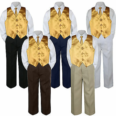 4pc Gold Vest & Tie  Suit Set Baby Boy Toddler Kid Uniform S-7