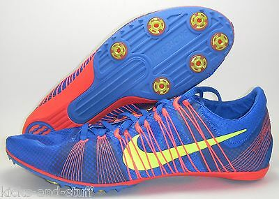 New Nike Zoom Victory 2 Track & Field Sprint Shoes Spikes Sz 13 Blue Red Volt