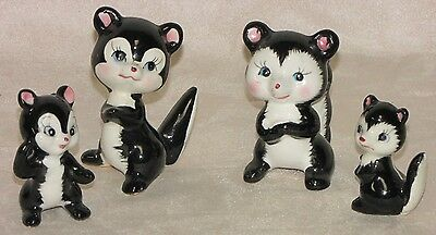 Fabulous Vintage Set of 4 Skunk Figurines The Friendly Funky Family