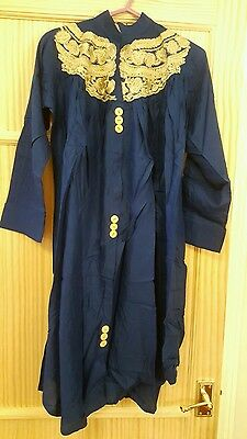Blue Kurta With Pleats and Beige Embroidery. Pakistani Clothing/ Asian Wear