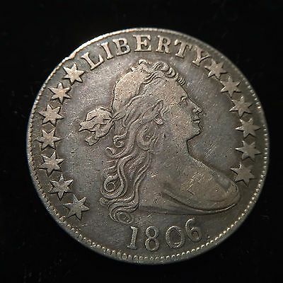 1806/5 Draped Bust Half Dollar XF Extremely Fine Overdate Silver Large Stars 50c