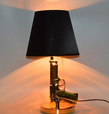 Gun Table Lamp Light Bedroom Home Decoration Hotel Bedside Pistol Desk Lighting