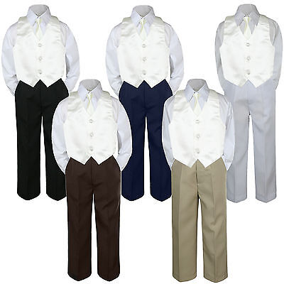 4pc Ivory Vest & Tie  Suit Set Baby Boy Toddler Kid Uniform S-7