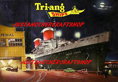 Triang Minic Ships SS United States A4 Poster Leaflet Advert Shop Display Sign