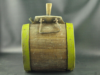 ANTIQUE HUGE 7.7lbs CWE WOODEN VESSEL KEG WATER CANTEEN WROUGHT IRON BALKAN