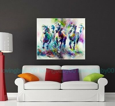 Running White Horses Stretched Canvas Prints Wall Art Home Decor Framed Painting