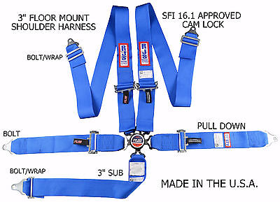 Rjs Racing Sfi 16.1 Cam Lock 5 Point Seat Belt Harness Floor Mount Blue 1034903